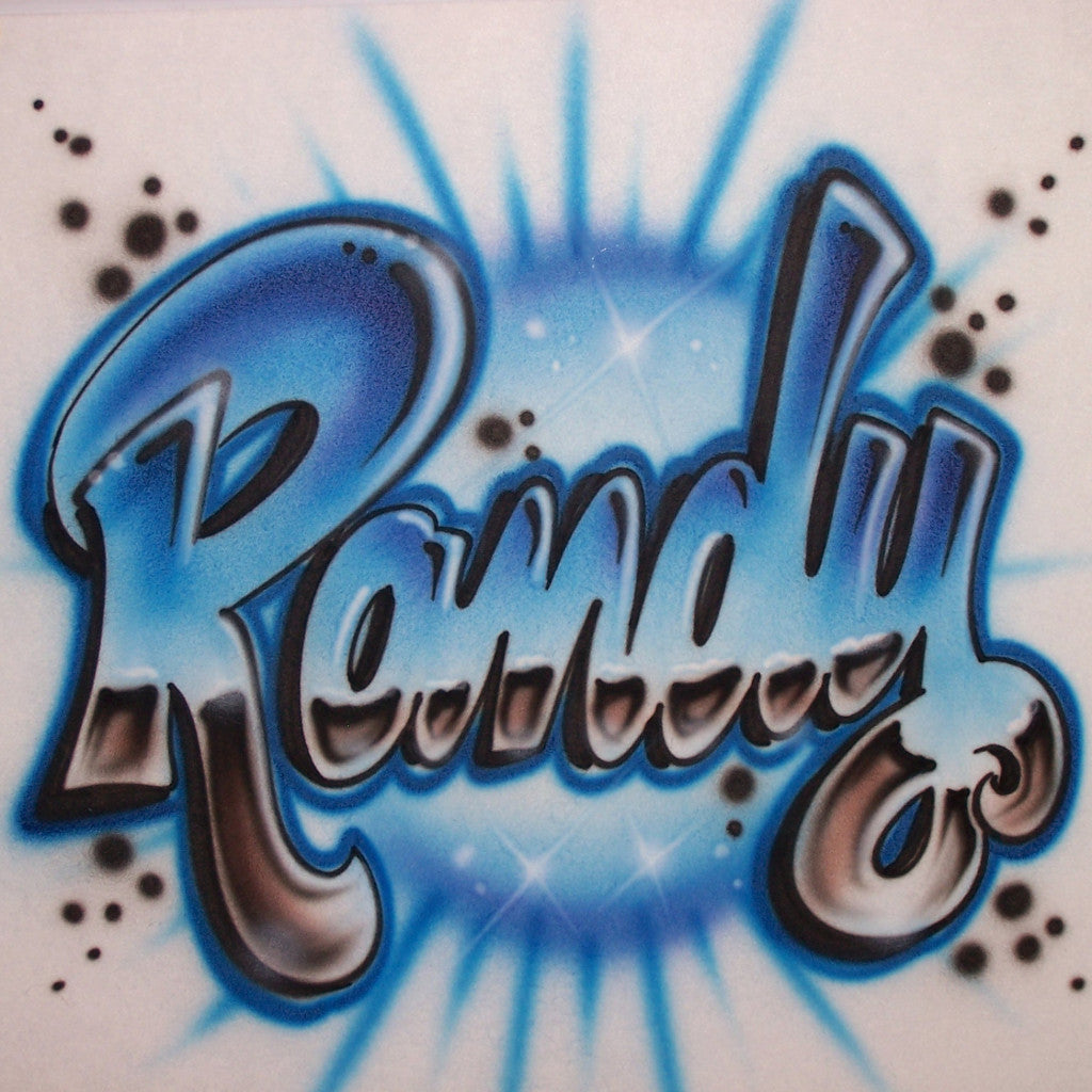 Airbrushed Block Script Chrome Effect Personalized Tee Or Sweatshirt