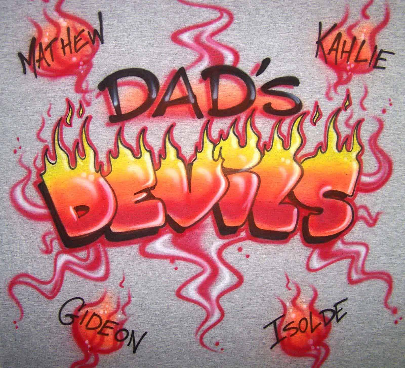 Custom Airbrushed Dad's Devils Shirt With Family Names
