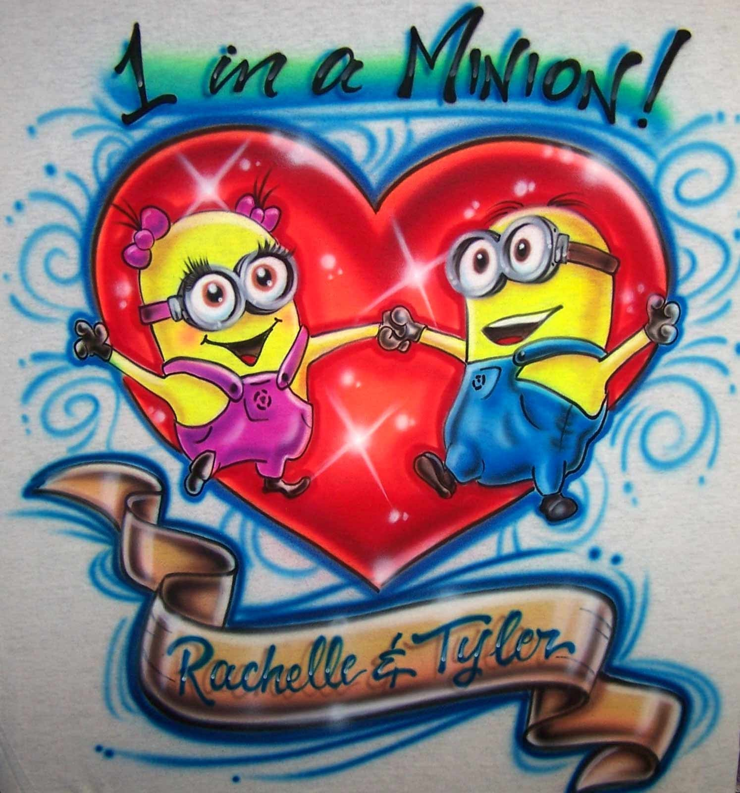 1 In A Minion Dancing Minions Airbrushed Love T-Shirt