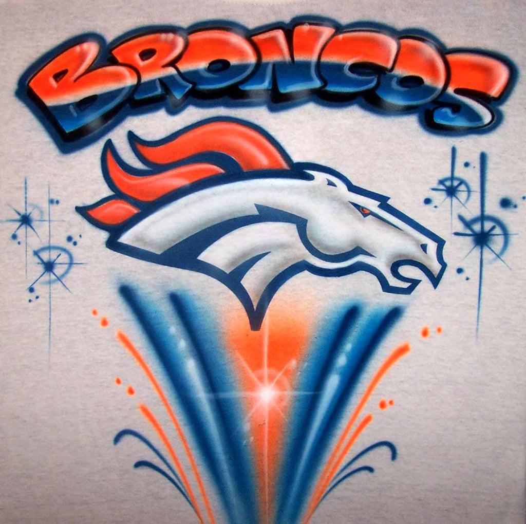 Denver Broncos Inspired Freestyle Airbrushed Tee or Sweatshirt