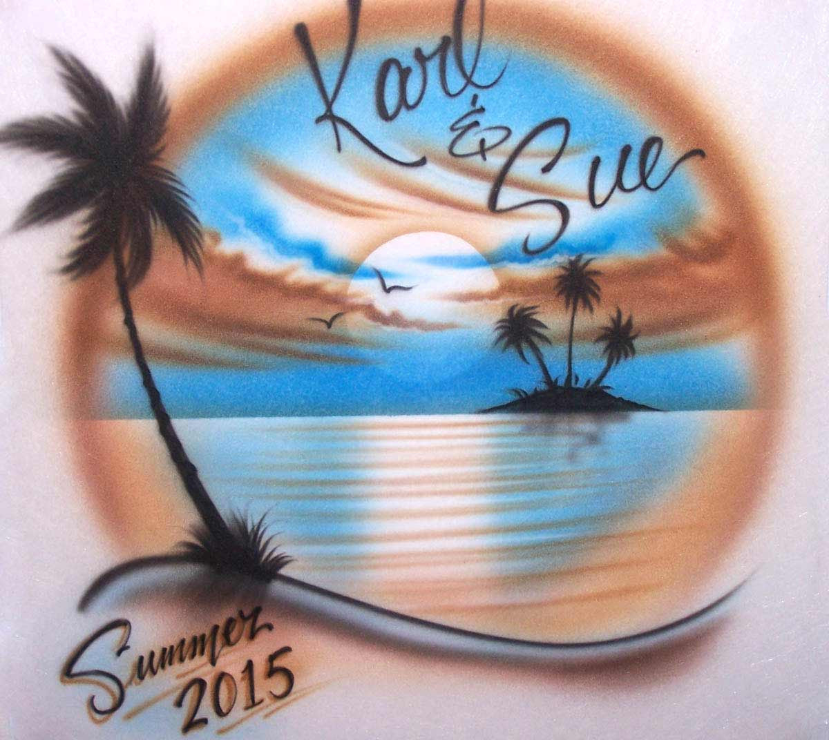 Earth Tone Beach scene with 2 names airbrushed