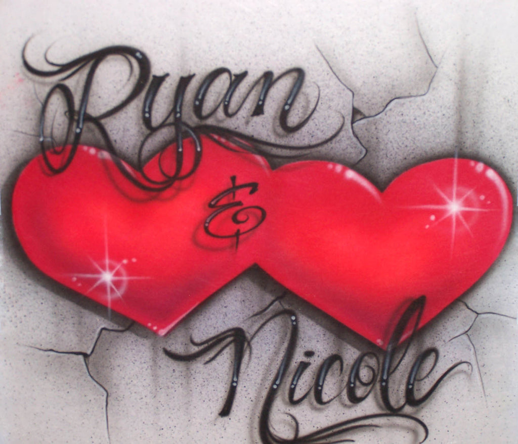 Double Hearts & Cracked Concrete Background with Any Two Names Airbrushed