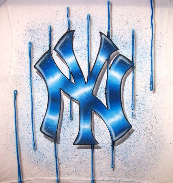 Custom Dripping NY Yankees Freestyle Airbrushed T-Shirt or Sweatshirt