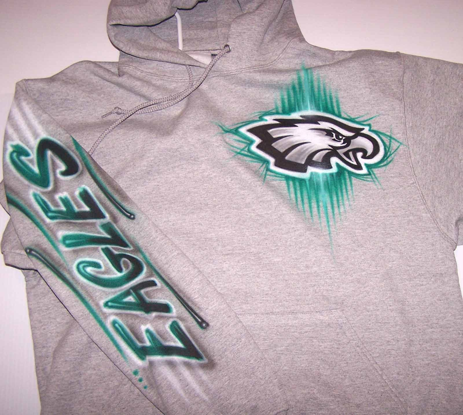 Philadelphia Eagles Logo Football Pullover Hooded Sweatshirt with Custom Name