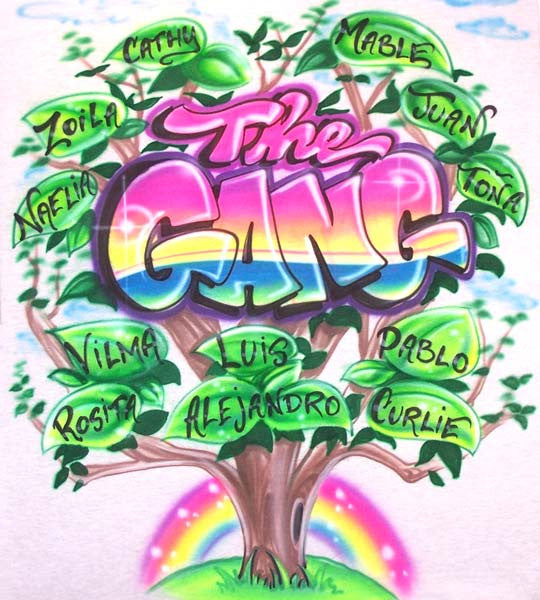 The Gang Family Tree With All Your Names Airbrushed Shirt