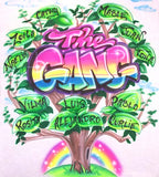 Airbrushed Family Tree and Names Custom T-Shirt or Sweatshirt