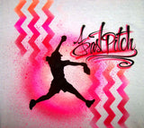 Softball pitcher and airbrushed chevron pattern custom shirt