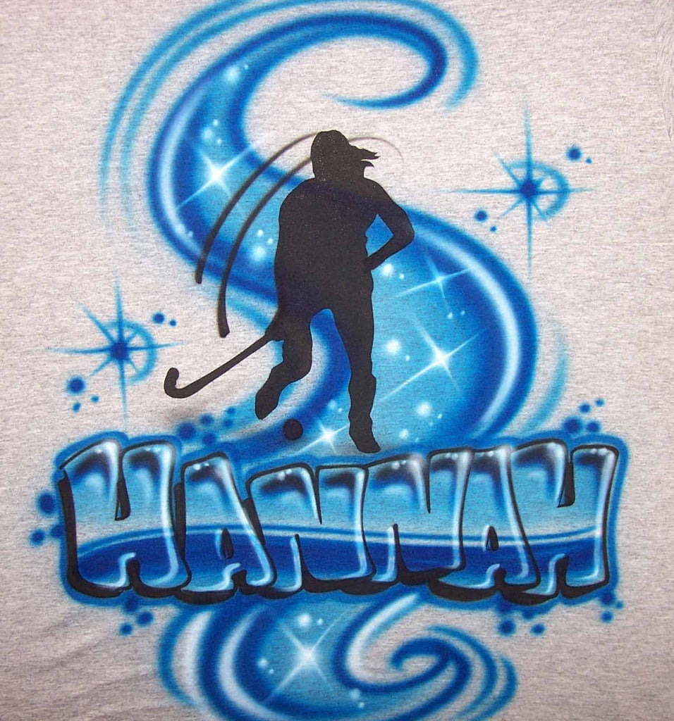 Field Hockey Player & Name Airbrushed Shirt