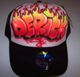 Flame Letter Airbrushed Personalized Snap Back Trucker Hat