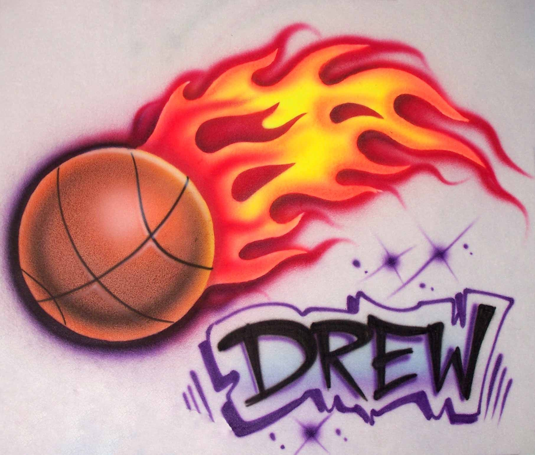 Flame Basketball Fire Name Airbrushed T-Shirt Sweatshirt