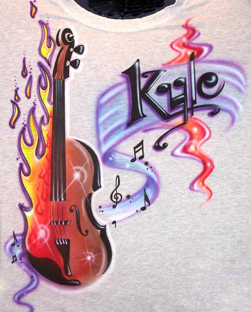 Airbrushed Flaming Violin and Music Notes Personalized Shirt
