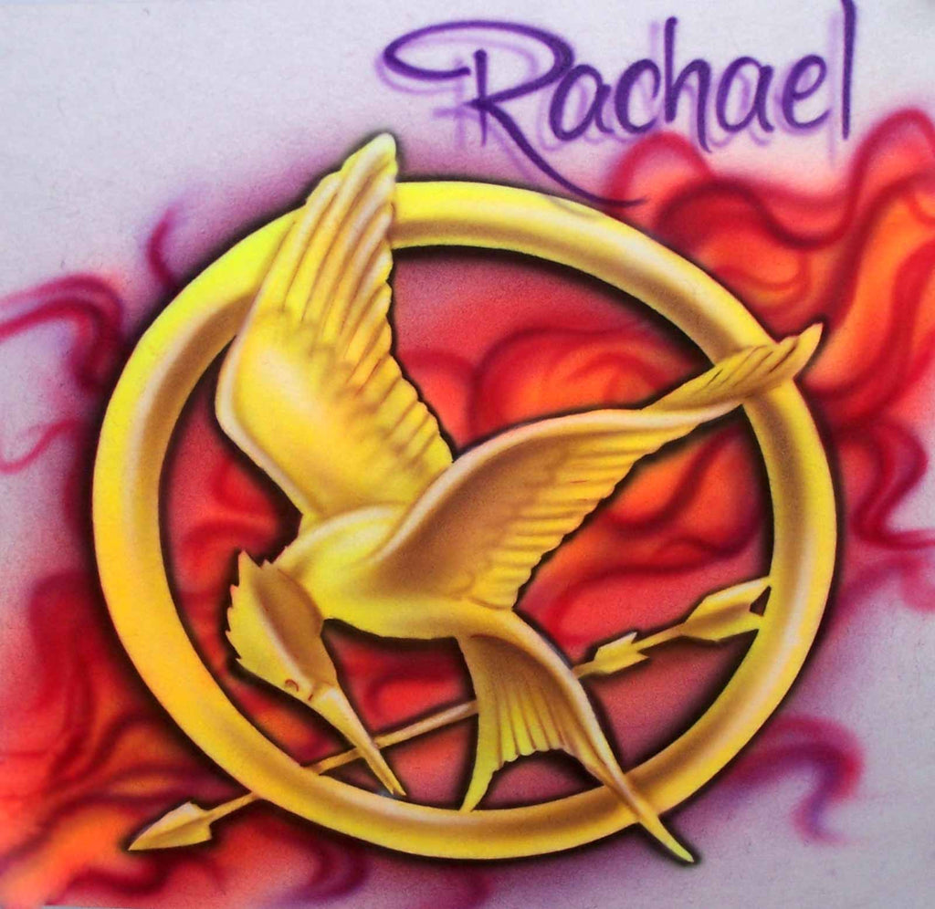 Airbrushed Flaming Mockingjay Personalized T-Shirt or Sweatshirt