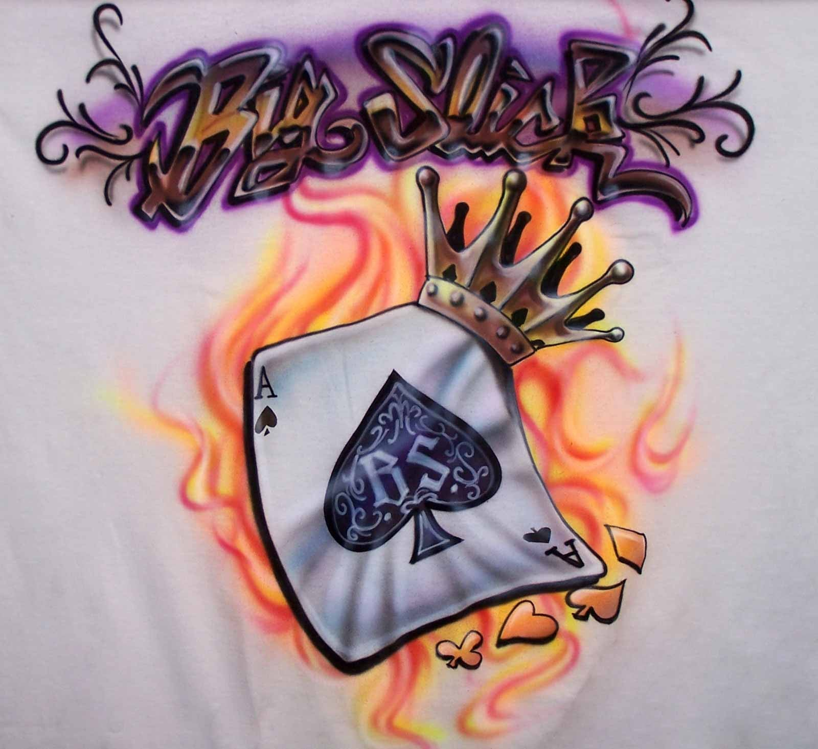 Flaming Ace & crown airbrushed poker Big Slick T-Shirt