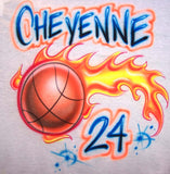 Flaming Baketball name player # airbrushed t-shirt sweatshirt hoodie