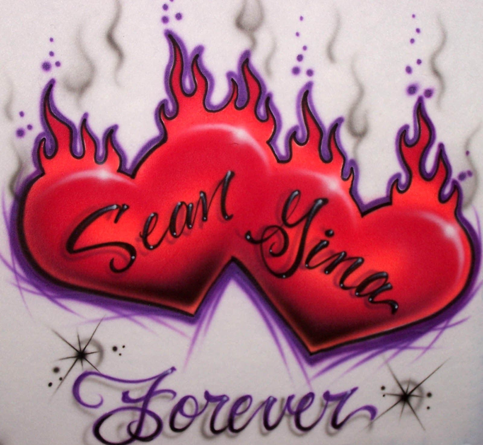 Flaming Double Heart Airbrushed Personalized Shirt