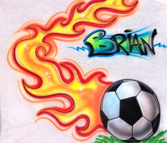 Flaming Soccer ball airbrushed shirt design