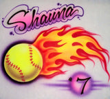 Flaming Softball Design with Player Name Number Airbrushed Shirt