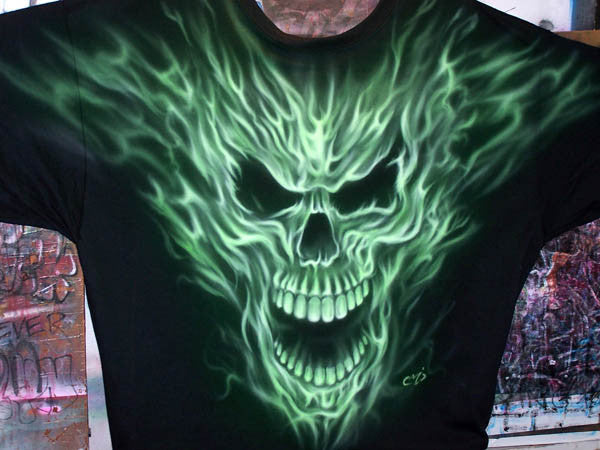 Flaming skull airbrushed black shirt