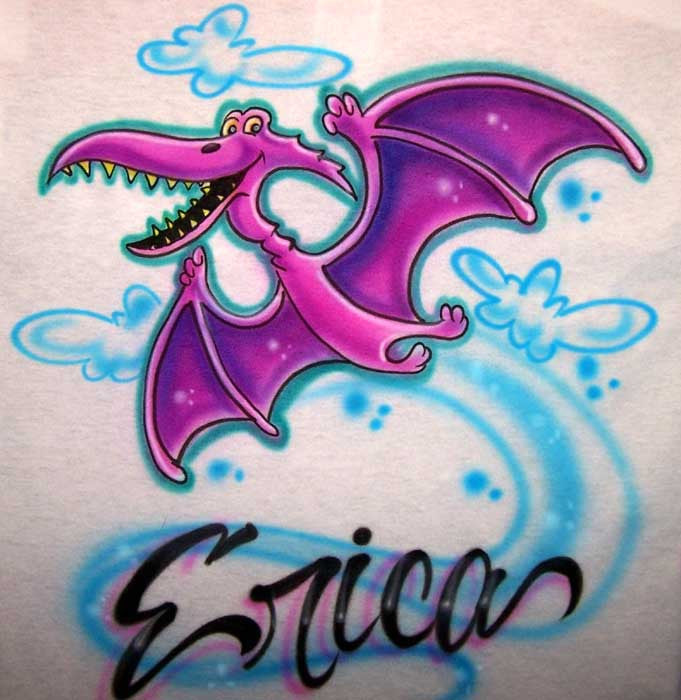 Pterodactyl Cartoon Dinosaur Airbrushed & Personalized Shirt Design