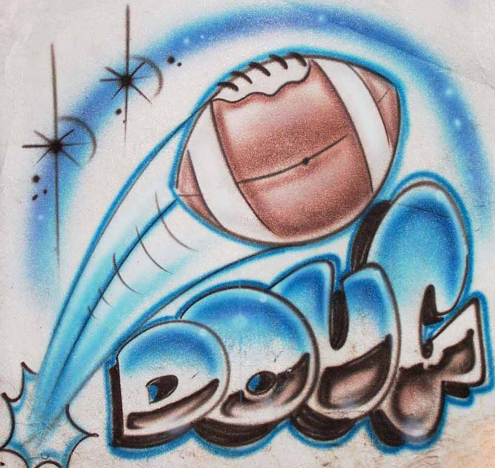 Flying Football & Name Airbrushed Shirt