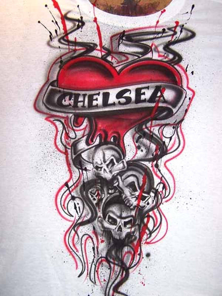 Airbrushed Freestyle Tribal Tattoo Skull And Heart Shirt