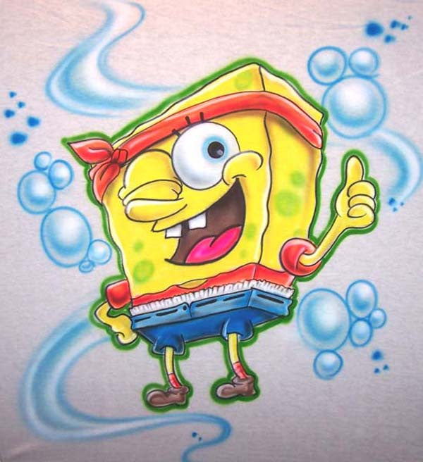 Gangsta Spongebob Airbrushed Shirt