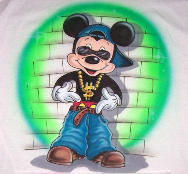 Airbrushed Gangsta Mouse Inspired Personalized Shirt Design