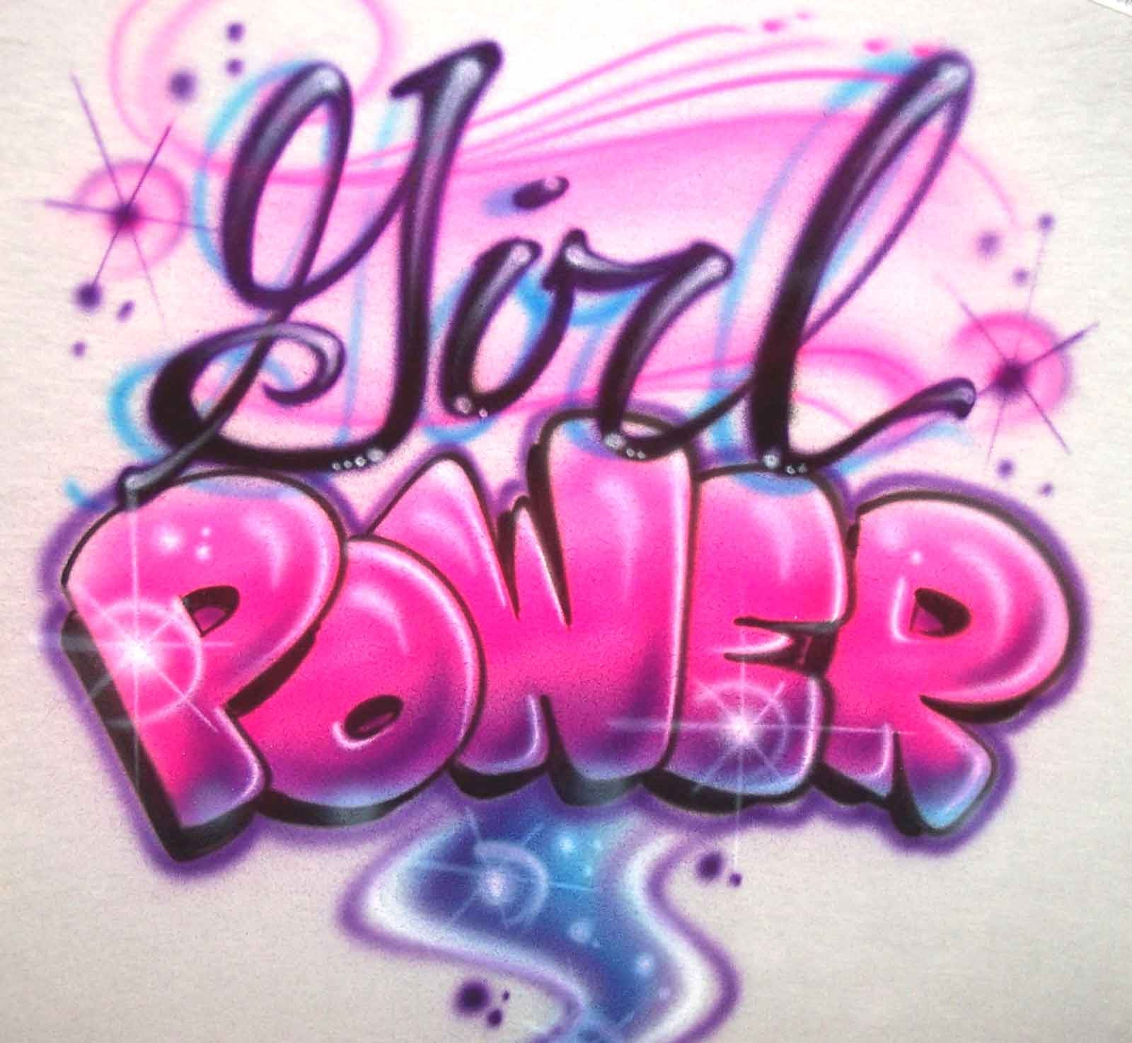 Girl power custom airbrushed shirt airbrush apparel for Custom made airbrushed shirts