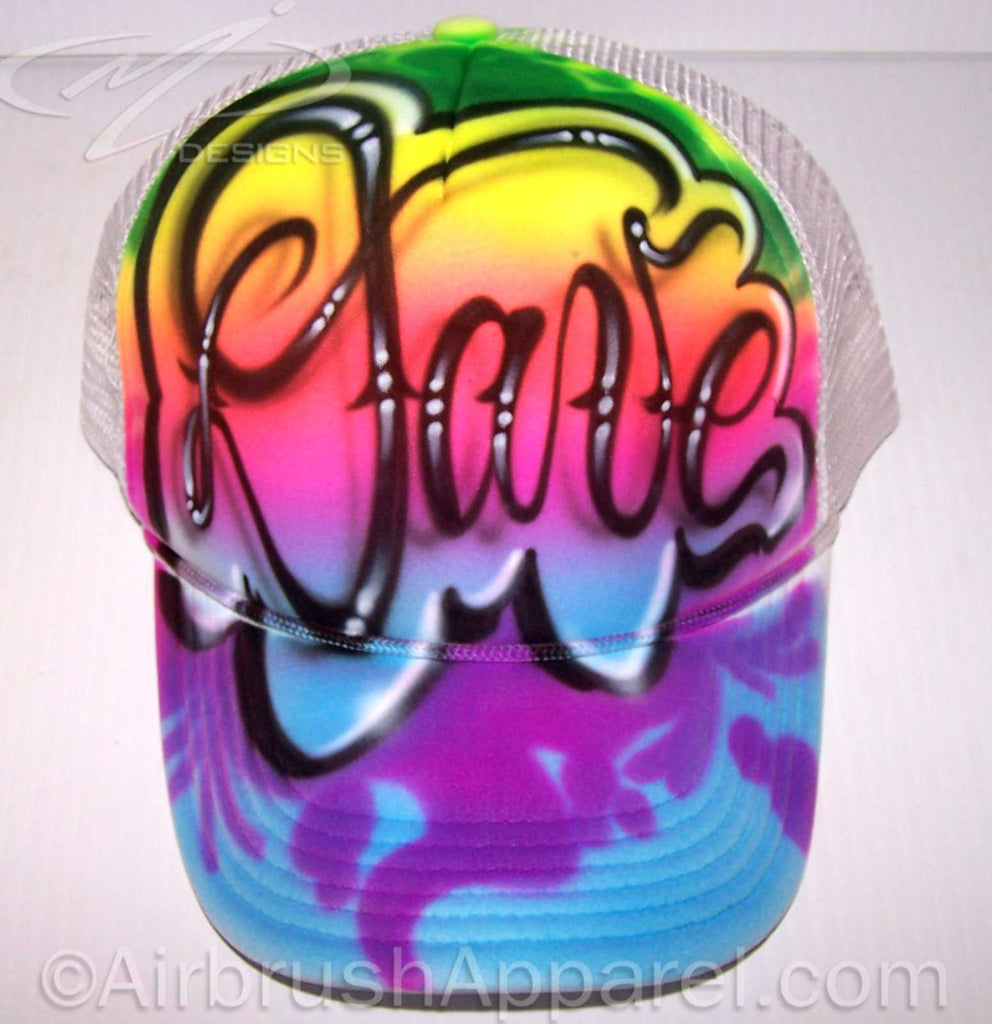 Custom Full Cover Graffiti Name Airbrushed Snap Back White Trucker Hat