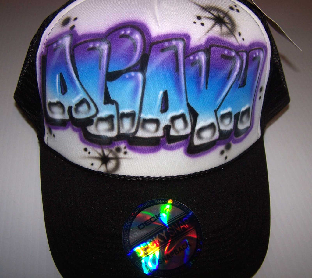 Airbrushed Graffiti Style Personalized Trucker Snap Back Hat
