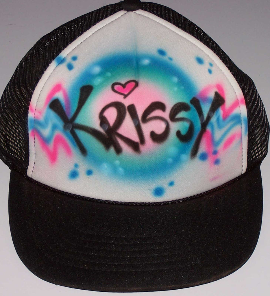 Airbrushed Graffiti Print Name With Color Background & Stars Trucker Hat