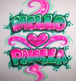 Graffiti style shirt with heart & double name design