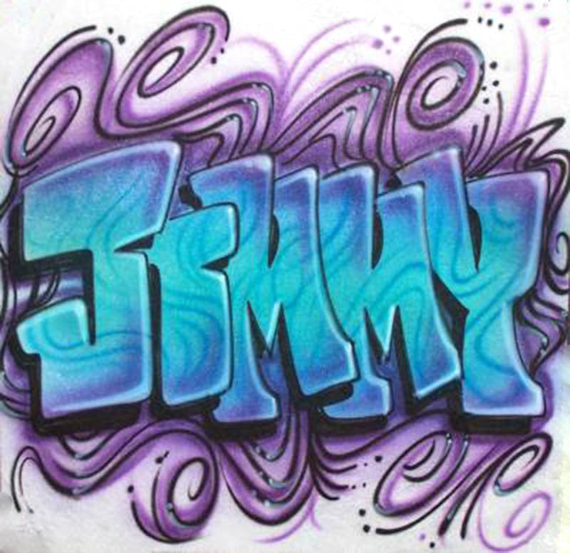 airbrush Graffiti swirled name graphic t-shirt