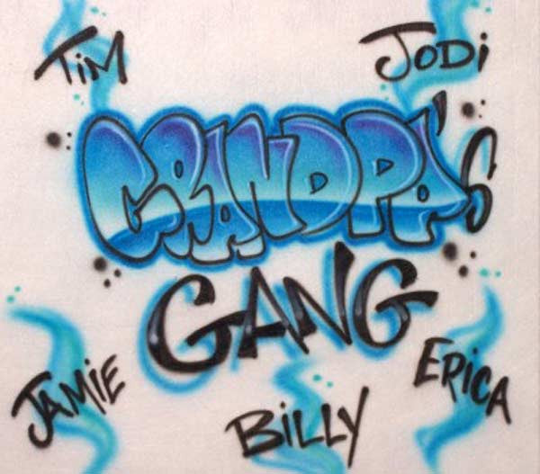 Airbrushed Grandpa's Gang Shirt With Family Names