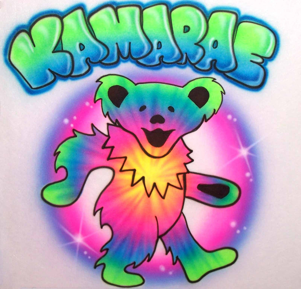 Airbrushed Gratful Dead Dancing Bear Personalized Shirt with Tie Dye Effect