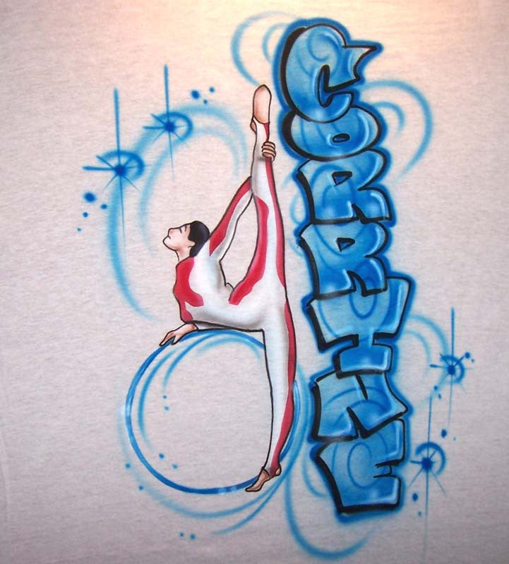 Gymnast on large hula hoop airbrushed personalized t-shirt