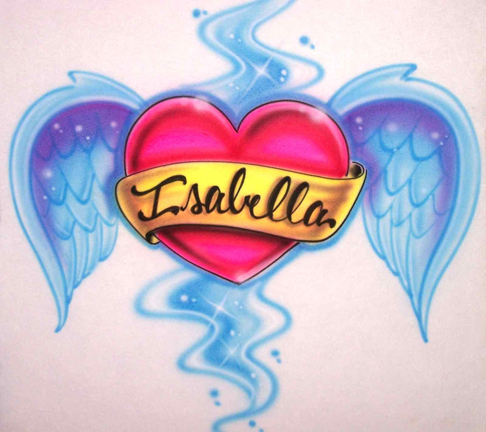 Custom Name heart and Angel Wings Airbrushed