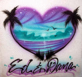 Heart Palm tree airbrush beach scene t-shirt