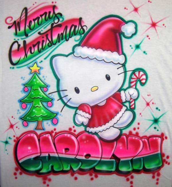Hello Christmas Kitty & Candy Cane Personalized Airbrushed T-Shirt Or Sweatshirt