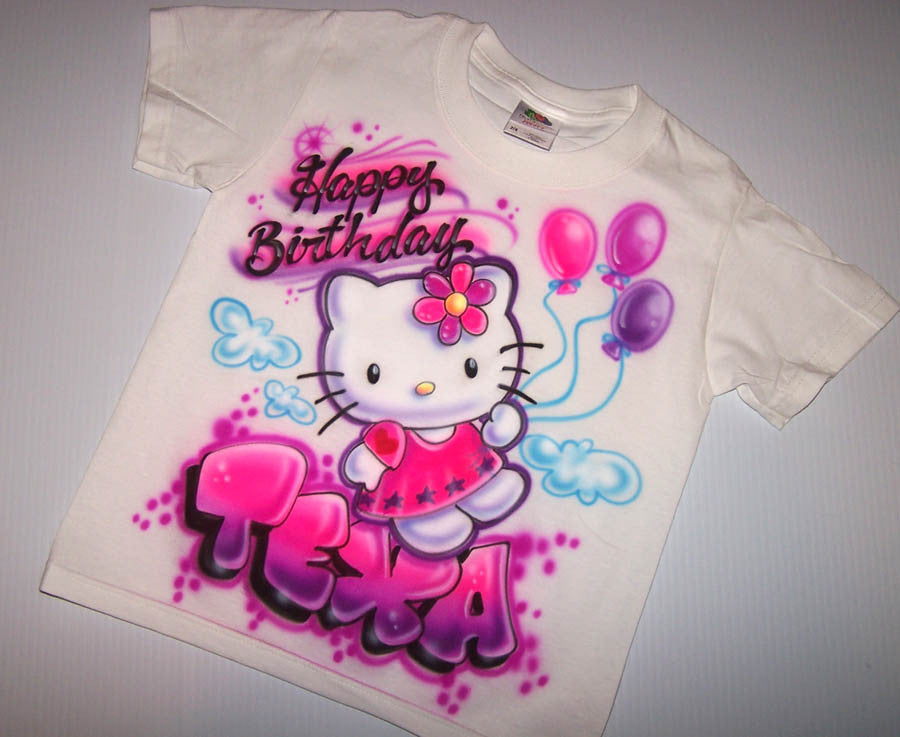Hello Birthday Kitty Balloons Personalized Airbrushed T Shirt Or Sweatshirt