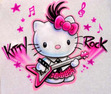 Airbrushed Hello Kitty Rock Music Shirt