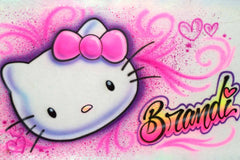 Hello Kitty face Airbrushed Personalized Freestyle T-Shirt