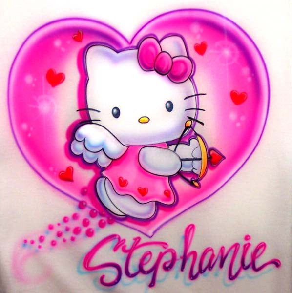 Airbrushed Hello Cupid Kitty Angel Wings & Heart Personalized Shirt Design