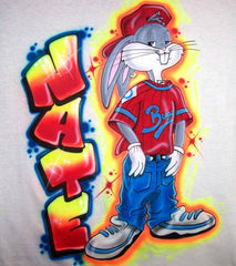 Airbrushed Hip Hop Bugs Graffiti Name T-Shirt