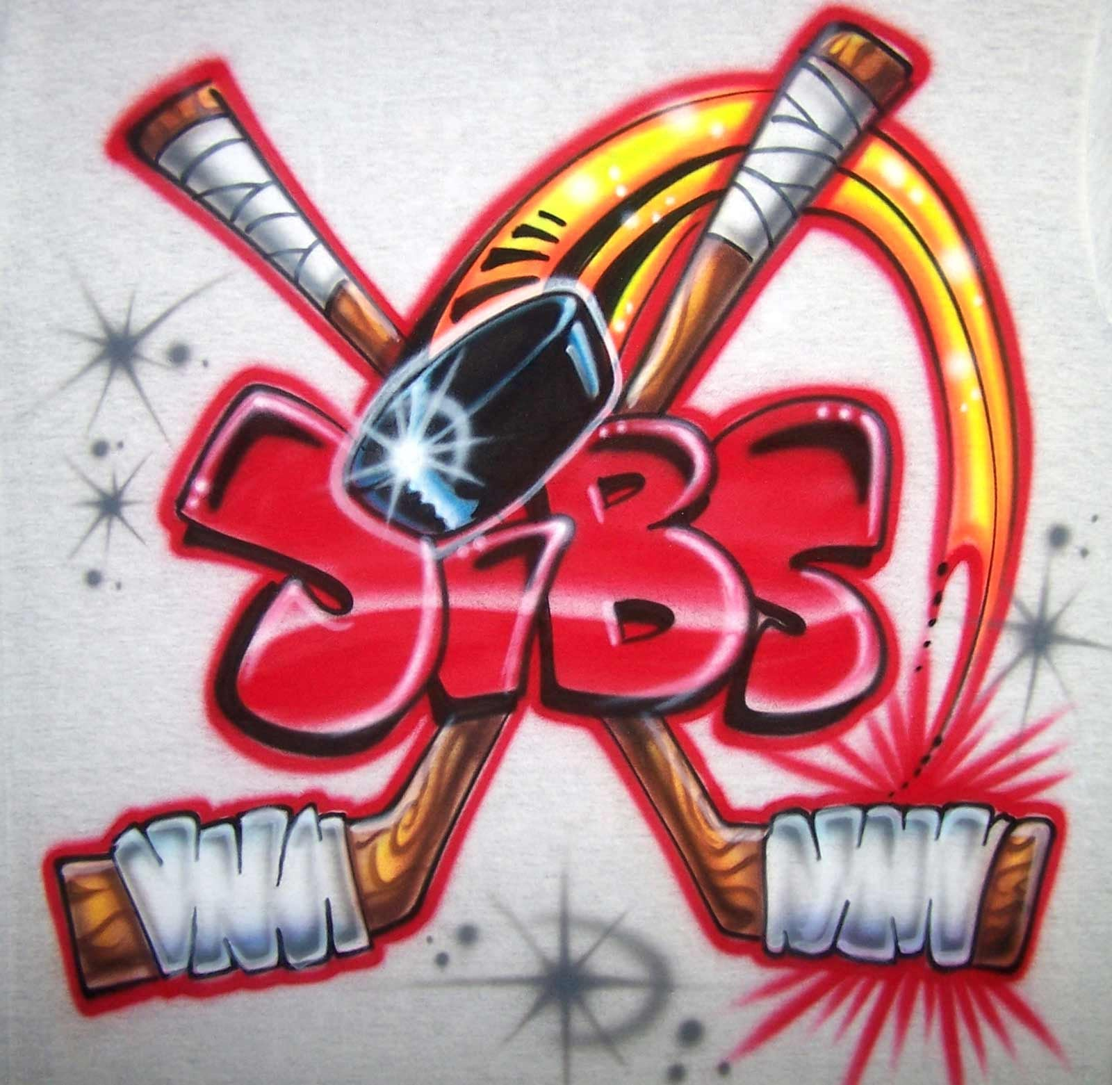 Personalized Hockey Towels: Airbrushed Ice Hockey Crossed Sticks & Puck Personalized Shirt