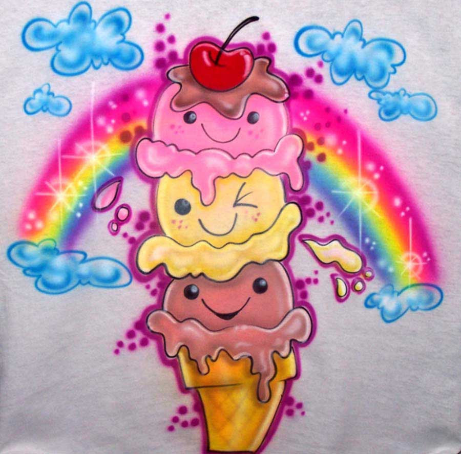 Smiley Face Ice Cream Cone Birthday Shirt With Name Age On Back