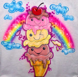 Smiley Face Ice Cream Cone Airbrushed Birthday Shirt
