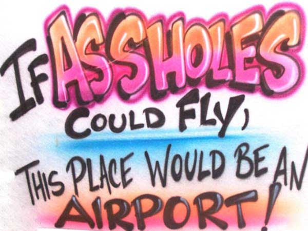 If Assholes could fly, this place would be an Airport! Funny Airbrushed T-Shirt or Sweatshirt