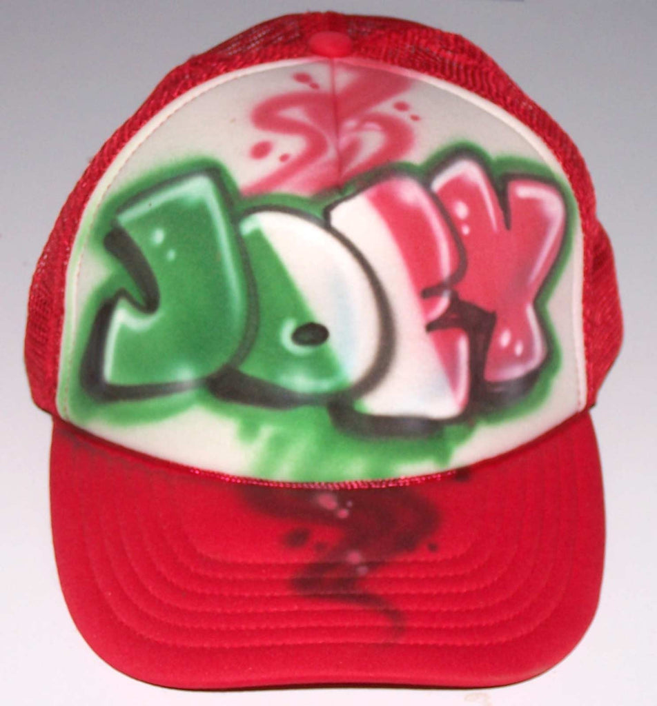 Airbrushed Italian Flag Graffiti Name Personalized Trucker Hat
