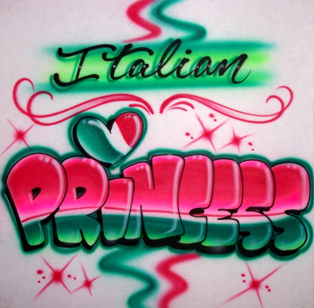 Italian Princess with Heart and Flag Airbrushed Shirt
